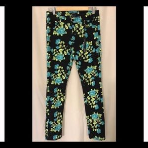 Turquoise floral jeans